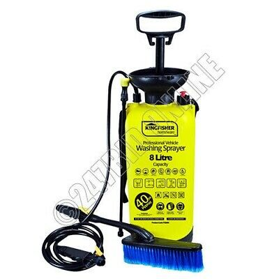 8 LITRE PORTABLE WATER POWER PRESSURE SPRAYER WASHER BRUSH ideal for CAR WASHING