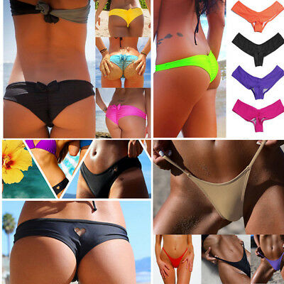 Sexy Women Brazilian Cheeky T-Back Cut Out Thong Bottom Bikini G-String Swimwear