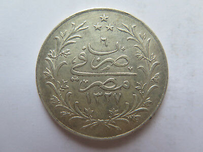 AH1327 Year 6 EGYPT 10 QIRSH .900 SILVER COIN in EXCELLENT CONDITION c1910s