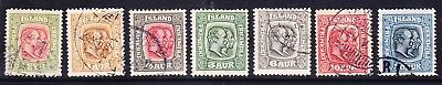 ICELAND 1914/18 SG109/15 set of 7 - perf 14 x 141/2 - very fine used. Cat £160