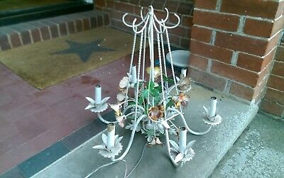 Beautiful vintage tole chandelier metal white flowers beautiful beautiful vintage tole chandelier metal white flowers beautiful 1950s mozeypictures Image collections
