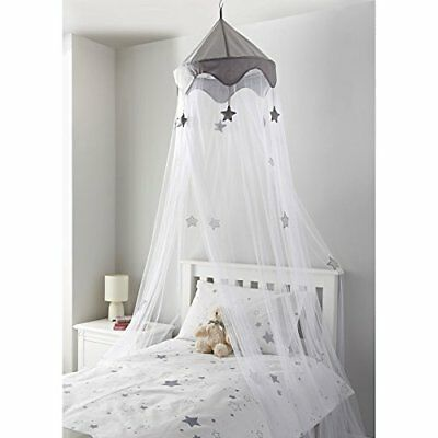 Large Childrens Little Dreams Premium Bed Hanging Canopy - Grey Stars