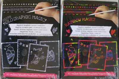 Magischer Block Malbuch Rainbow Magic Silver Holographic + 2 Stifte Kratzblock