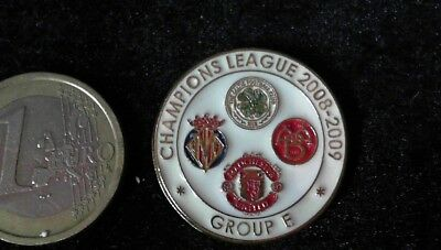 Pin Badge Champions League 08/09 Celtic Glasgow Manu Manchester United Villareal