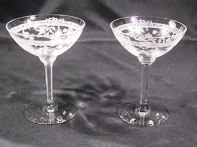 Heisey Glass Co. Frontenac Tall Champagne Sherbet Stem 3350 Etch 440 Lot of 2