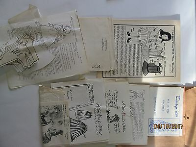 Period DOLL DRESS PATTERN 1800 to 1890 Assorted Doll Clothing Patterns USED