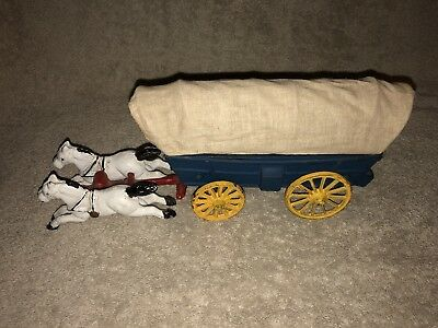 Rare Antique Vintage Cast Iron 2 Two Horse Covered Chuck Wagon Old Time