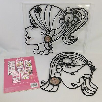 2 Barbie Metal Wall Room Decor Photo Picture Frames Jewelry Scarf Holder Lot