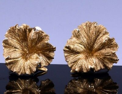 Pair Fine Vintage 14K Gold Floral Leaf Design Hand Made Earrings