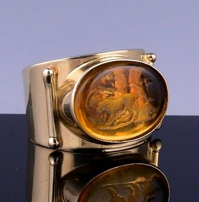 Great Tagliamonte Italian 14K Gold & Ancient Roman Intaglio Glass Design Ring