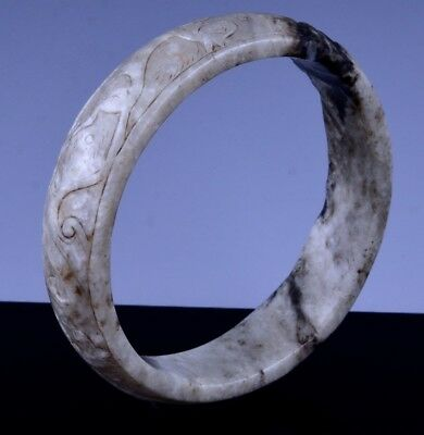 Rare Antique Chinese White Jade Figural Carved Bangle Bracelet Ming Qing Dynasty