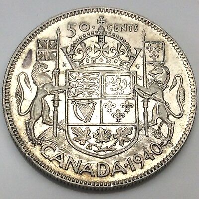 1940 Canada Fifty 50 Cents Silver Circulated Canadian Coin D275