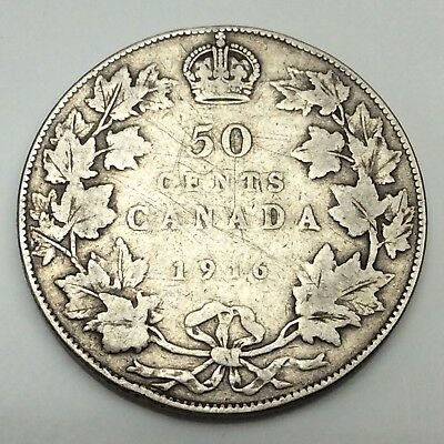 1916 Canada Fifty 50 Cents Sterling Silver Circulated Canadian Coin D283