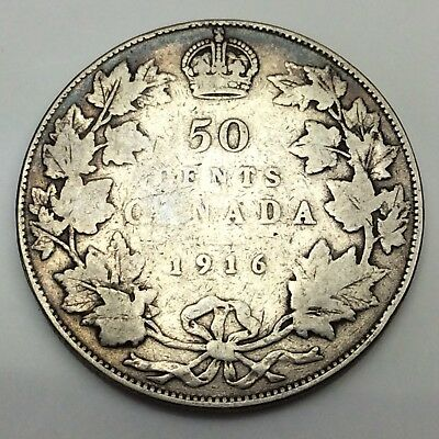 1916 Canada Fifty 50 Cents Sterling Silver Circulated Canadian Coin D284