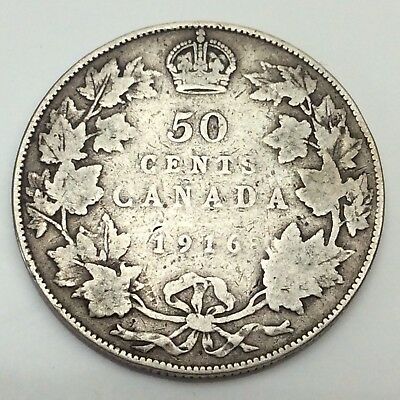 1916 Canada Fifty 50 Cents Sterling Silver Circulated Canadian Coin D285