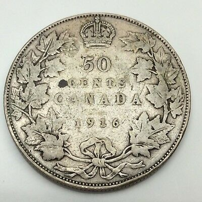 1916 Canada Fifty 50 Cents Sterling Silver Circulated Canadian Coin D286
