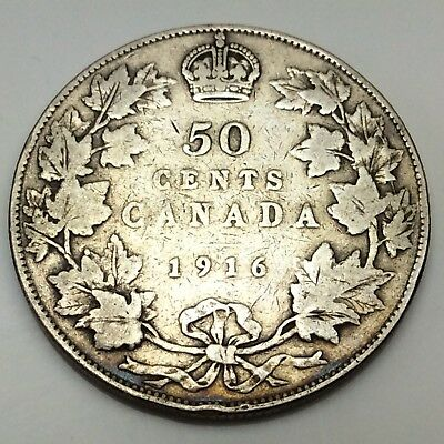 1916 Canada Fifty 50 Cents Sterling Silver Circulated Canadian Coin D287
