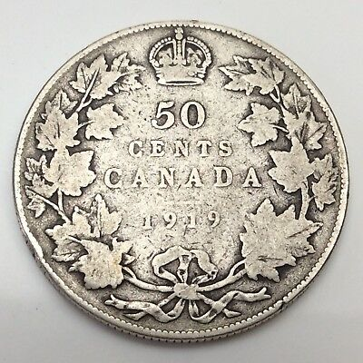 1919 Canada Fifty 50 Cents Sterling Silver Circulated Canadian Coin D291
