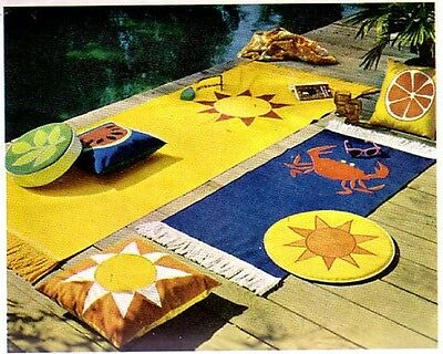 Mid Century Modern 1960s Outdoor Furniture Sewing Pattern Pillows Home Decor