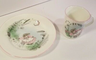 Elizabethan Fine Bone China Hand Decorated Mrs Rabbit Plate And Cup.