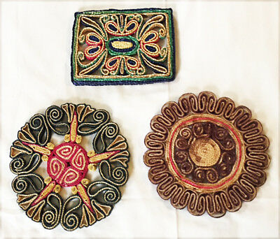 3 Vintage straw trivets hot pot holders, Mexico