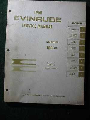 1968 Evinrude Outboard Service Repair Shop Manual Starflite 100 HP 100882 100883