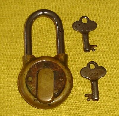 ANTIQUE BRASS PADLOCK with DUST COVER & 2 KEYS