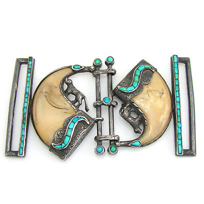 Unique Vintage Etched Handmade Sterling Silver Turquoise & Claw Belt Buckle   RS
