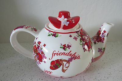 Cardew Design PINK CHINTZ TEAPOT Red Hat Society 2004 Perfect Unused Condition