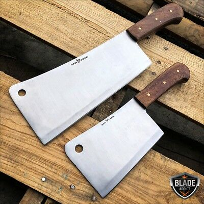 2 PC Stainless Steel Heavy Duty Meat Cleaver Chef Knife Butcher Chopper Set New