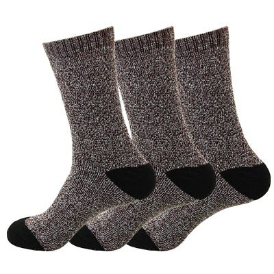 SUPER WARM Heavy Duty Men Winter Thermal Boot Socks 3 Pairs Pack Size 9-13 Brown