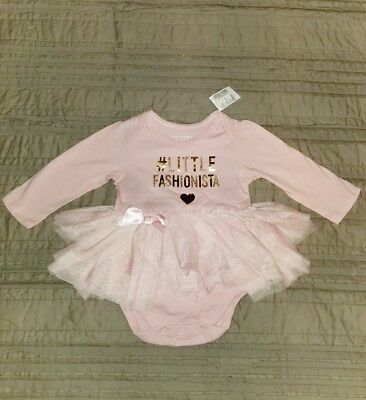 Childrens Place Baby Girl 3-6 months Pink TuTu Little Fashionista Long Sleeve