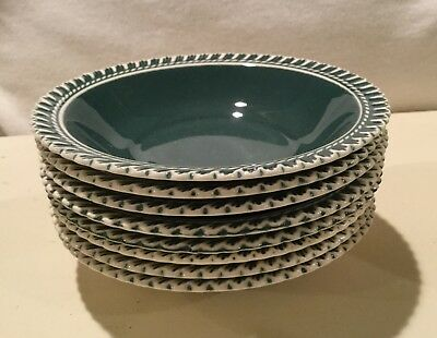 """Harker Pottery CORINTHIAN PATE SUR PATE in Teal (8) Fruit/Dessert Dishes 5-1/2"""""""