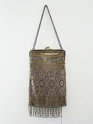 Antique French Gold Silver Micro Beaded Bronze Filigree Frame Purse Bag