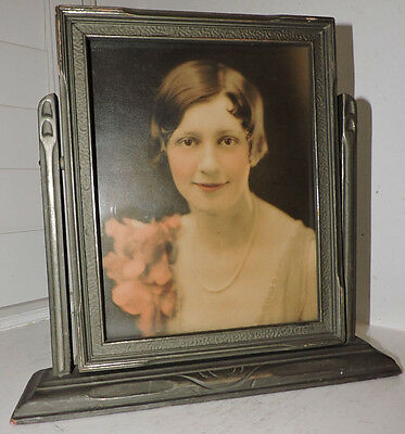 Vintage ART DECO Silver Swing Frame FLAPPER Woman Colored Photograph c1920-30s