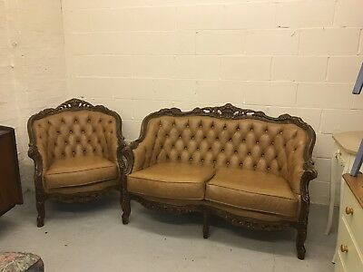 Vintage French Style Tan Sofa Chesterfield Button & Armchair Delivery Available