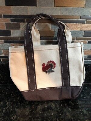 L.L.Bean Canvas Boat And Tote Turkey Patch Wine Bag Hostess Gift
