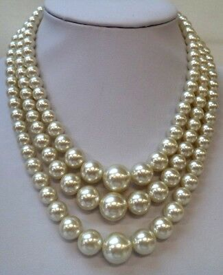 "Stunning Vintage Estate Signed Japan Faux Pearl Beaded 16"" Necklace!!!! 8384J"