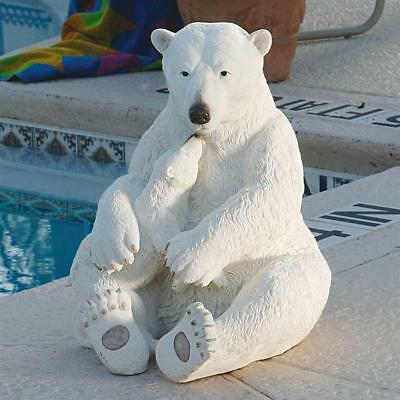 Frosty Pair of Polar Bears Mother & Cub Arctic Outdoor Pool or Spa Sculpture