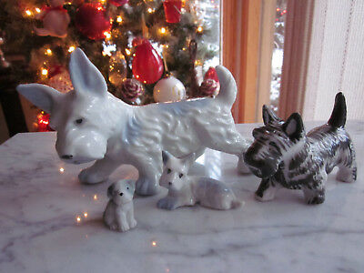 4 Vintage Ceramic Scottie DOG Figure Figurines White Blue Black Scottish Terrier