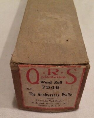 Vintage QRS Player Piano Word Roll The Anniversary Waltz 7546 RARE
