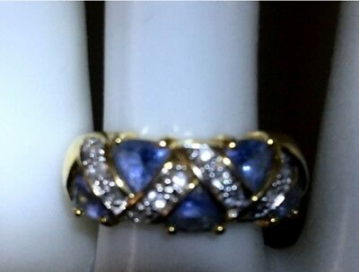 18kt Technibond® Tanzanite Trillions & Absolute CZ Band Ring Sz 7