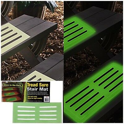 GLOW IN THE DARK STAIR MAT High Visibility Step Tread Safety Mats 39 x 18 cm