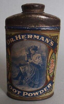 Very Nice Dr. Herman's Foot Powder Advertising Tin Beautiful Victorian Lady