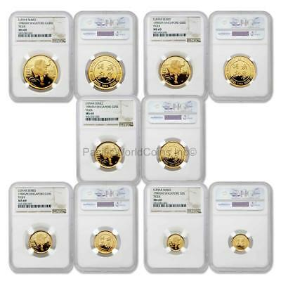 Singapore 1986 Year of the Tiger 5pc Gold NGC MS69 Set SKU#5671