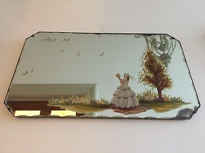 Vintage Frameless Crinoline Lady Wall Mirror Art Deco 1930s 1940s Old 51x30cm