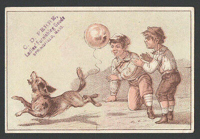 Victorian TradeCard Boys Tie Balloon on Dogs Tail Ladies Furnishings Springfield