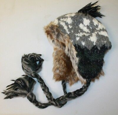 American Eagle AE ~ Winter Trapper Hat ~ Faux Fur ~ Wool & Alpaca ~ Adult 1 Size