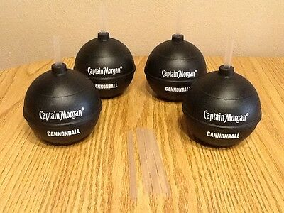 Lot of 4 NEW Captain Morgan Cannonball Plastic Cups Rum (with straws)
