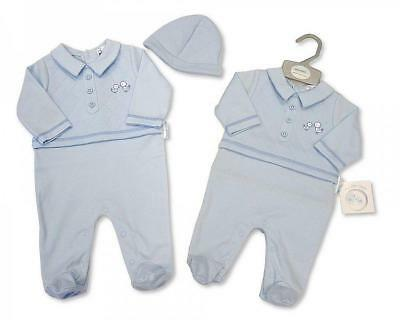 Baby boy Clothes Spanish Romany Style All in One  Hat 2 piece set blue  NB-3 mth
